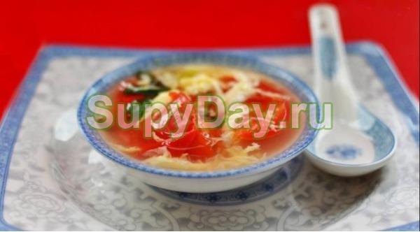 Суп с яйцом и помидорами «Томатный»