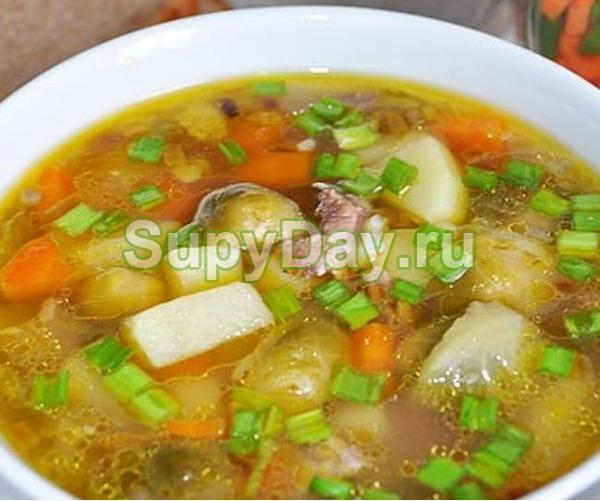 Суп из куриных сердечек с брюссельской капустой