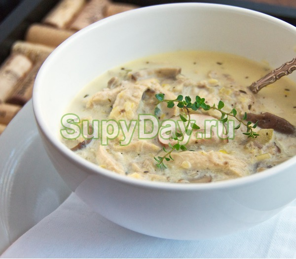 Суп с курицей, грибами и сливками