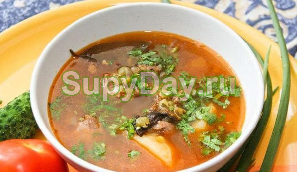 Суп из баранины с чечевицей и зелёной фасолью
