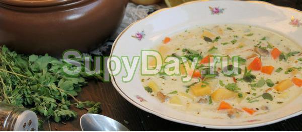 Суп с плавленным сыром, свининой и картофелем