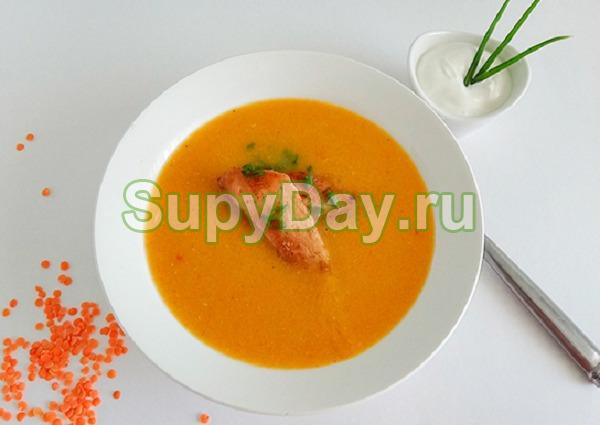 Крем суп из чечевицы с курицей