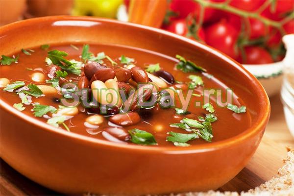 Суп без мяса с красной фасолью