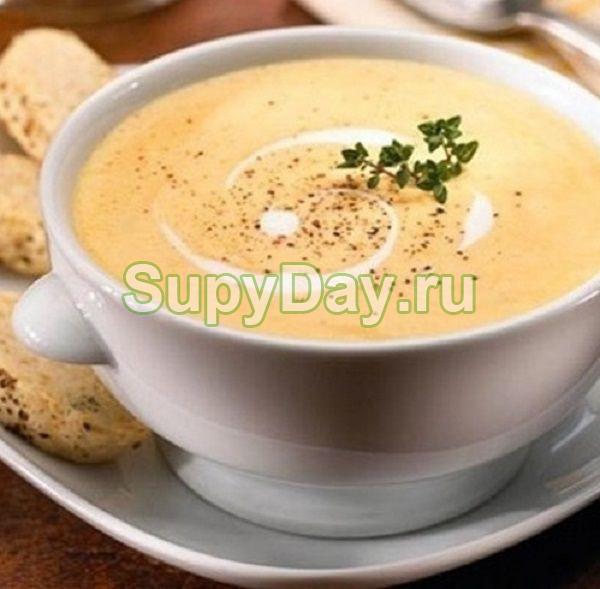 Суп-пюре с курицей, гречкой и сыром