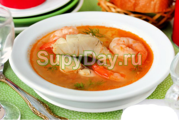 Суп из судака и креветок