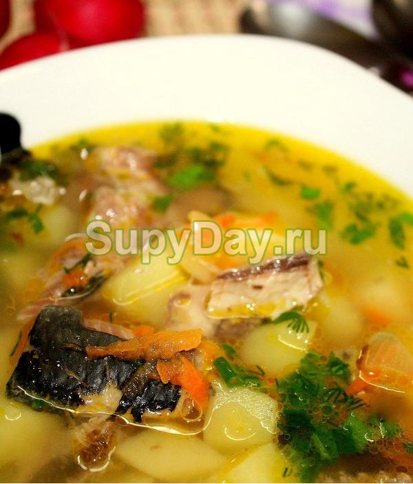 Суп из рыбных консервов, риса и картофеля