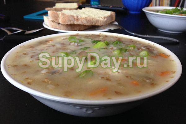 Суп с гречкой на курином бульоне
